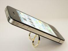 WiseFinger Black - Smartphone Double Ring Holder & Stand