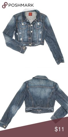 HIGHWAY JEANS Distressed Cropped Denim Jacket Pre-owned. 100% Cotton. Bundle 2+ items and get 15% off your order! Highway Jeans Jackets & Coats Jean Jackets