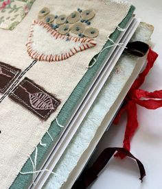 art journal, stitched poppy (sold)