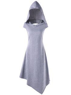 Hooded Criss Cross Cut Out Handkerchief Dress - LIGHT GRAY M