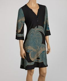 Love this Black & Teal Cloud Henley Dress by Reborn Collection on #zulily! #zulilyfinds