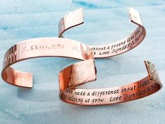 Hostess gift, handmade Custom Bracelet Cuff, Express how you feel and they'll see it daily, daily mantra, personal sentiment Metal Bracelets, Cuff Bracelets, Personalized Bracelets, Personalized Gifts, Custom Ties, Hand Art, Engagement Gifts, Photo Jewelry, Leather Cuffs