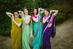 """Blending of cultures ~ according to the bride, her """"bridesmaids each wore a sari fitting to their personalities"""" /  Photography by ryanpflynn.com and kyliewrites.com"""