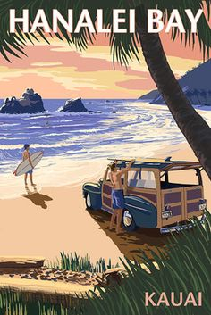 Hanalei Bay - Kauai, Hawaii - Woody on Beach - Lantern Press Poster