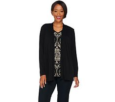 Susan Graver Liquid Knit Long Sleeve Printed Cardigan Set