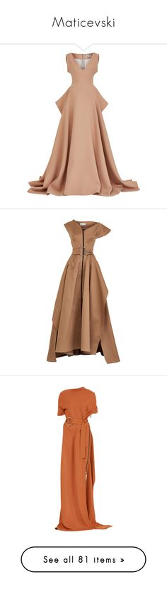 """Maticevski"" by mari-sv ❤ liked on Polyvore featuring dresses, gowns, maticevski, v neck ball gown, v neck slit dress, v neck peplum dress, slit gown, v neck gown, asymmetrical neck dress and beige evening dresses"