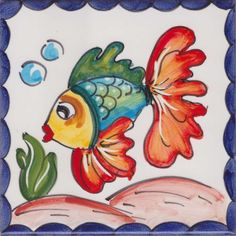 Small Drawings, Italian Pottery, Tile Murals, Rooster, Tiles, Cherry, Hand Painted, Fish, Pattern