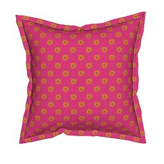 Serama Throw Pillow featuring Boho Polkadots Pink Yellow by lenazembrowskij | Roostery Home Decor