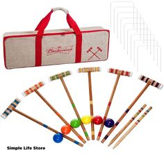 The Trademark Games Bud Light Croquet Set is a full croquet set that comes in a handsome carrying case that celebrates your favorite beverage. Six croquet. Croquet Party, Bag Toss Game, Lawn Games, Cornhole Set, Camping Games, Bud Light, Pool Table, Table Games, Party Games