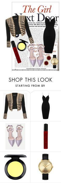 """The girl next door."" by pandabills on Polyvore featuring moda, Balmain, Topshop, NYX, MAC Cosmetics, Nixon, House of Harlow 1960, black, dress y redlips"