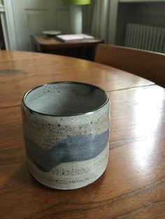 Black Stoneware tea bowl with gloss White glaze, 2015