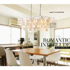 Modern Round White Natural Shells Oblong Two Chains Pendant Light Noble Dining/Living Room Restaurant Pendant Fixtures -5