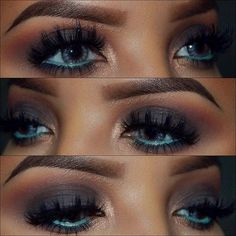 inspiration try blue liner on the inner eyelid and dark purple on the upper lids
