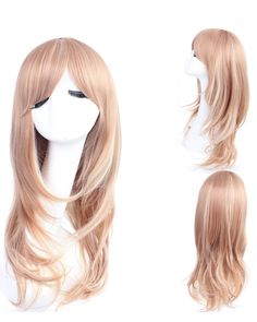 70cm Blonde Wavy Cosplay Wigs Costumes Wigs For Ladies With Bangs