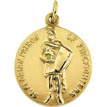 St Florian Simple Round Solid 14 Karat Yellow Gold Patron of Firefighters Medal - Fine Jewelry Fashion St Florian, Patron Saints, Precious Metals, Pocket Watch, Firefighters, Fine Jewelry, Fashion Jewelry, Personalized Items, Yellow
