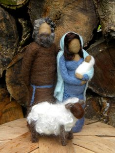 Needle felted Nativity Blue and Brown tones