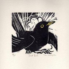 black bird lino cut