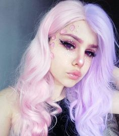 Purple Wig Best Hair Color For Black Hair Demi Hair Color – porjack Demi Hair Color, Hair Color For Black Hair, Cool Hair Color, Blue Hair, Cosplay Makeup, Cosplay Wigs, Costume Wigs, Kawaii Makeup, Cute Makeup