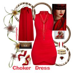 """""""Contest Entry - Choker Dress - Feb 2017"""" by soniasonjai on Polyvore featuring Kenneth Jay Lane, Christian Louboutin, Mark Davis, Valentino and Love Heals"""