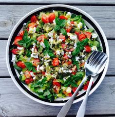 We get this simple salad several times a week throughout the summer. Side Recipes, Real Food Recipes, Vegetarian Recipes, Healthy Recipes, Feta, Brunch Salad, Different Salads, Food Plus, Greens Recipe