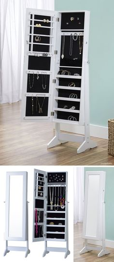 Jewelry armoire cabinet with mirror #organization #furniture_design