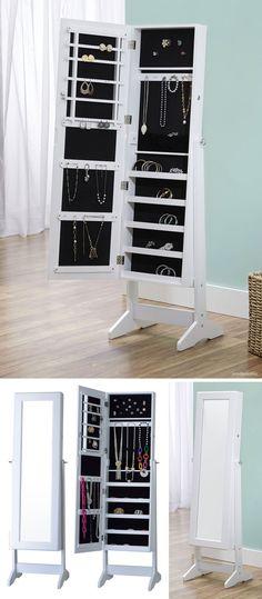 Jewelry armoire cabinet with mirror #organization #furniture_design