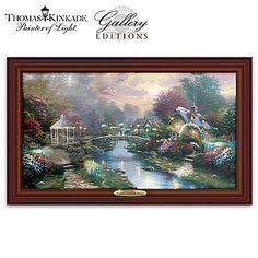 Thomas Kinkade Beyond Lamplight Bridge Lighted Canvas With Unpublished Vision