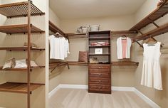 """Contemporary Closet with Woodcrest 24"""" Shelving Unit by John Louis Home, Carpet, Easy Track 2179-10 Closet Shelves RS1423ON23"""