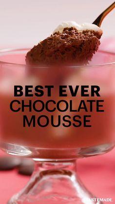 Fun Baking Recipes, Sweet Recipes, Dessert Recipes, Dessert Recipe Video, Cooking Recipes, Chocolate Recipes, Simple Chocolate Mousse Recipe, Tastemade Recipes, Baguio