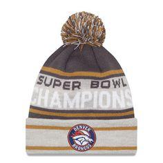 efc5abb96 Men s New Era Graphite Gray Denver Broncos Super Bowl 50 Champions Cuffed  Knit Hat with Pom