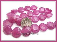 1 Strand of Faceted Fuschia Jade Coin Gemstone Beads 14mm | Sugabeads - Jewelry Supplies on ArtFire