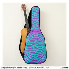 Turquoise Purple Zebra Stripe Animal Print #Guitar Case