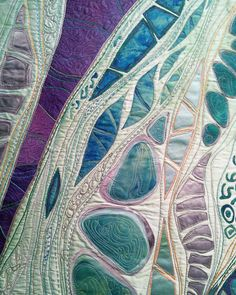 Cultivating Connections I: Karen Kamenetzky Art Quilt - Selina Homa Map Quilt, Quilt Art, Quilt Stitching, Applique Quilts, Nausicaa, Landscape Art Quilts, Textile Fiber Art, Thread Painting, Sewing Art