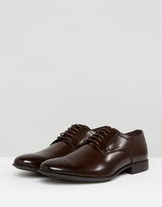 5704a4d07db ASOS Brogue Shoes In Brown Faux Leather With Toe Detail - Brown