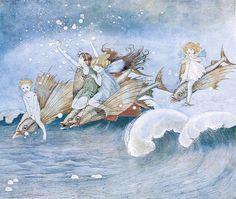 Illustration by Ida Rentoul Outhwaite Fantasy Kunst, Fantasy Art, Jm Barrie, Kobold, Elves And Fairies, Vintage Fairies, Art Et Illustration, Fairy Art, Magical Creatures