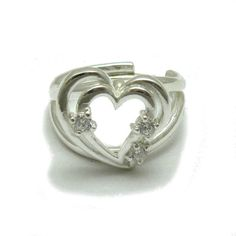 Sterling silver ring solid 925 heart with 3 CZ adjustable size R001752 #Empress