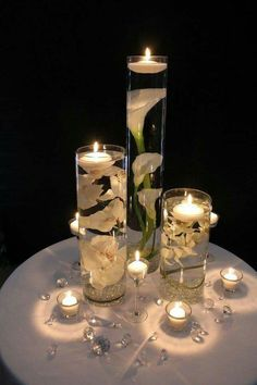 37 Mind-Blowingly Beautiful Wedding Reception Ideas [love candles and flowers in water] How beautiful are these Floating Candle Centerpieces With Flower ! They are inexpensive and gorgeous Simple but amazing !They are wonderful for wedding or Wedding Reception Ideas, Wedding Table Decorations, Wedding Table Numbers, Wedding Centerpieces, Wedding Planning, Budget Wedding, Wedding Tables, Wedding Receptions, Flower Centerpieces