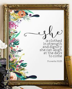 Nursery bible verse art print She is clothed by TwoBrushesDesigns #nurserydecor