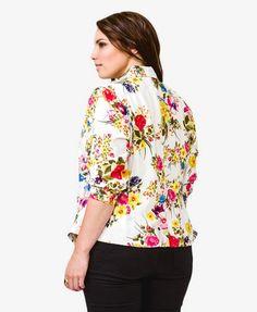 Floral Print Blazer   FOREVER21 PLUS - 2040495974
