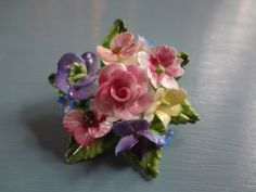 Vintage Porcelain Brooch from Staffordshire England