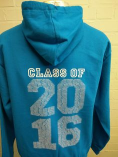 Blue Class of 2016 Leavers Hoodies with custom logo embroidered on the front and custom leavers print on the back. Looking great with different coloured strings on the hood.