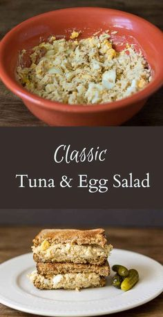 Classic Tuna and Egg Salad This classic tuna & egg salad recipe is great on toast or alone as a salad. Basic flavors and simple ingredients that you probably already have on hand. Tuna Sandwich Recipes, Best Tuna Salad Recipe, Tuna Fish Recipes, Egg Recipes, Salad Recipes, Cooking Recipes, Easy Tuna Salad Recipe With Egg, Southern Tuna Salad Recipe, Classic Tuna Salad Recipe
