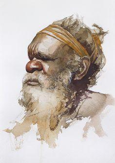 Inspiring Art works from Aboriginal Man, Aboriginal Artwork, Aboriginal Culture, Aboriginal People, Aboriginal Children, Australian Aboriginal History, Indigenous Australian Art, Watercolor Portraits, Watercolor Art