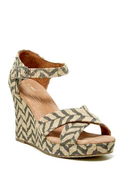 Zebra Zigzag Strappy Wedge Sandal