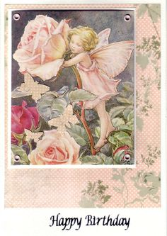 Handmade Card. Flower Fairy picture cut from an old book and mounted onto pretty backing paper. Layered with acetate attached with eyelets. Embellished with butterflies punched from the backing paper.