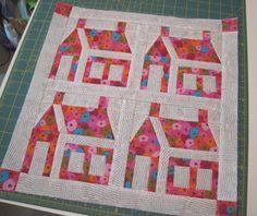 Schoolhouse quilt blocks - I love the modern fabrics!!!!  by alobsiger on Flickr