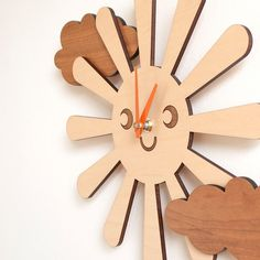 Wooden Happy Sun Clock Kids Nursery Clock Sun by graphicspaceswood