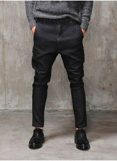 Mens Drop Crotch Baggy-fit Black Easy Jeans at Fabrixquare | I usually hate the drop crotch but this one isn't too drop crotchy.
