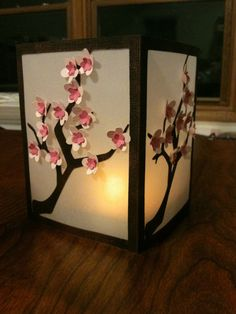 Beautiful DIY cherry blossom luminary using Cricut dies (by Kathy's Krafts).