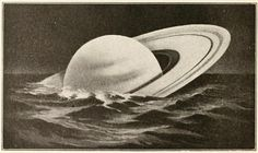 """""""Saturn, the lightest of the planets in proportion to its size, would float in water (if there were an ocean big enough to hold it!)"""" Antique Illustration, Illustration Art, Floating In Water, Our Country, Aesthetic Wallpapers, Art Inspo, Dieselpunk, Comic, Stars"""